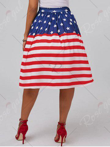 Hot American Flag Patriotic High Waisted Skirt - 2XL RED Mobile