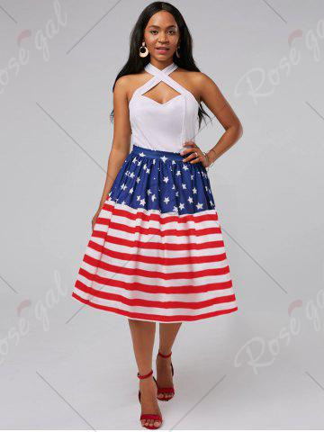 Fashion American Flag Patriotic High Waisted Skirt - 2XL RED Mobile