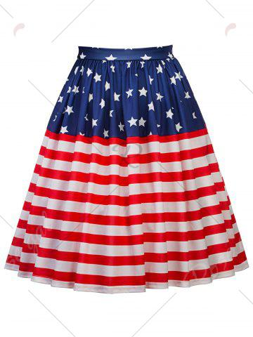 Fancy American Flag Patriotic High Waisted Skirt - 2XL RED Mobile