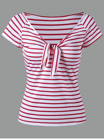 Knot Stripe T-shirt - Red - L