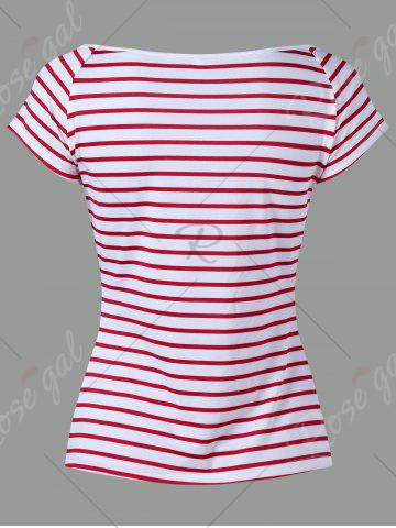 Outfits Knot Stripe T-shirt - XL RED Mobile