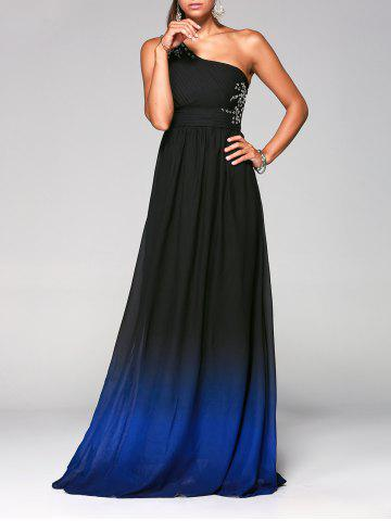 Unique Rhinestone One Shoulder Ombre Evening Formal Carpet Dress DEEP BLUE S