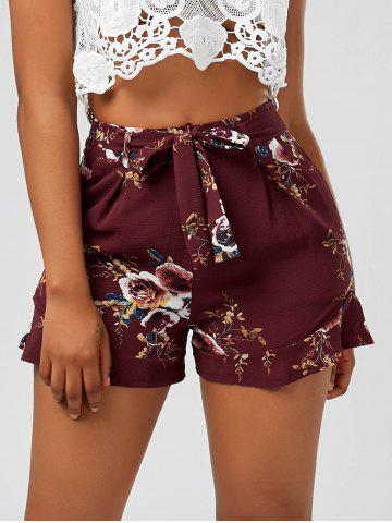 Affordable Floral Ruffle Trim High Waisted Shorts DEEP RED S