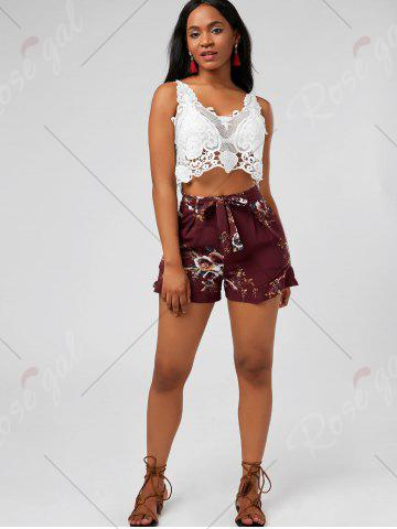 Discount Floral Ruffle Trim High Waisted Shorts - L DEEP RED Mobile