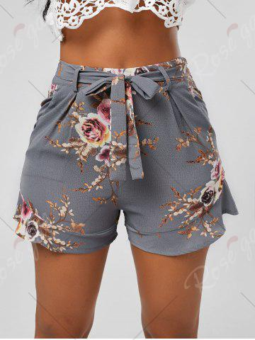 Online Floral Ruffle Trim High Waisted Shorts - XL SMOKY GRAY Mobile