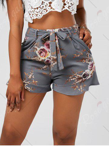 Best Floral Ruffle Trim High Waisted Shorts - S SMOKY GRAY Mobile