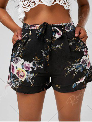 Best Floral Ruffle Trim High Waisted Shorts - XL BLACK Mobile