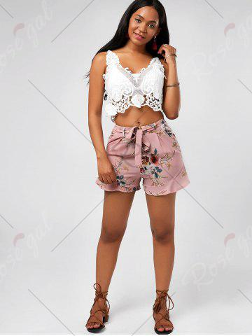 Cheap Floral Ruffle Trim High Waisted Shorts - L PINK Mobile