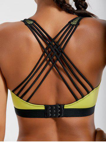 Unique Strappy Padded Criss Cross Sports Bra - L LEMON YELLOW Mobile