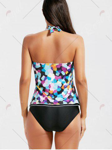 Fancy Backless Halter Color Block Tankini Set - S COLORMIX Mobile