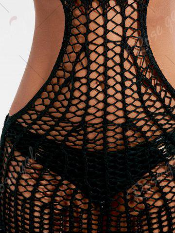 Discount Open Back Halter Crochet Cover Up - ONE SIZE BLACK Mobile