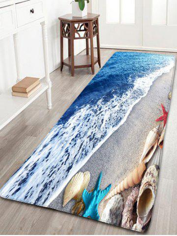 Bathroom Beach Starfish Printed Skidproof Flannel Rug - Blue - W16 Inch * L47 Inch