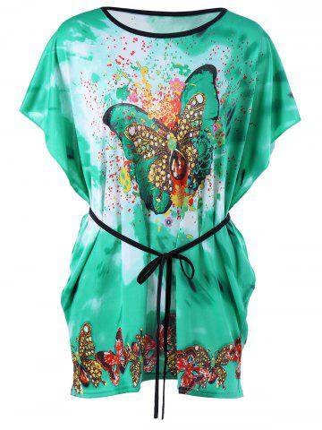 Butterfly Print Tie Dye Tee with Belt - Green - One Size