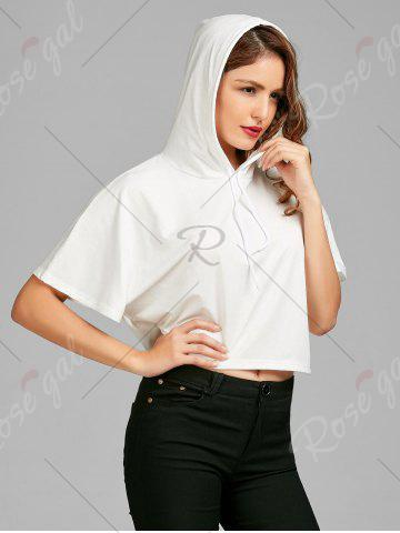 Buy Casual Short Sleeve Sports Hoodie - S WHITE Mobile