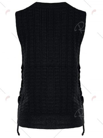 Discount Knit Lace Up Sweater Vest - ONE SIZE BLACK Mobile