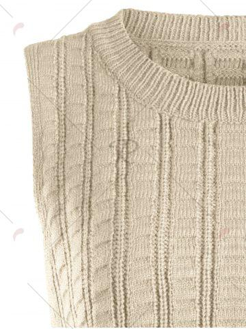 New Knit Lace Up Sweater Vest - ONE SIZE KHAKI Mobile