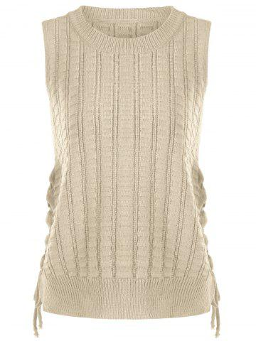 Discount Knit Lace Up Sweater Vest - ONE SIZE KHAKI Mobile