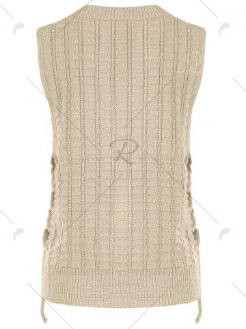 Outfits Knit Lace Up Sweater Vest - ONE SIZE KHAKI Mobile