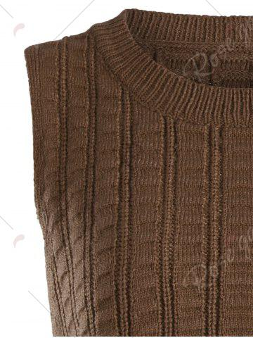 Trendy Knit Lace Up Sweater Vest - ONE SIZE BROWN Mobile