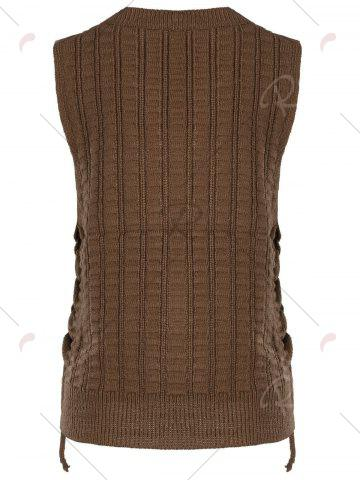 New Knit Lace Up Sweater Vest - ONE SIZE BROWN Mobile