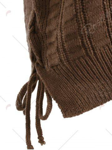 Best Knit Lace Up Sweater Vest - ONE SIZE BROWN Mobile
