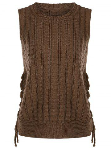 Outfits Knit Lace Up Sweater Vest - ONE SIZE BROWN Mobile