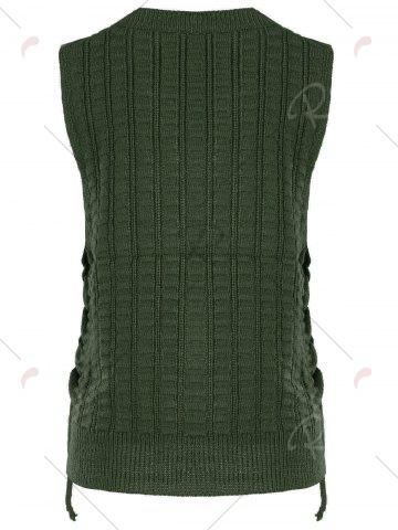 Trendy Knit Lace Up Sweater Vest - ONE SIZE CLOVER Mobile