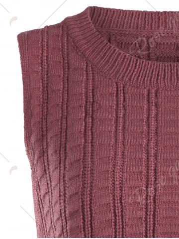 Unique Knit Lace Up Sweater Vest - ONE SIZE BRICK-RED Mobile