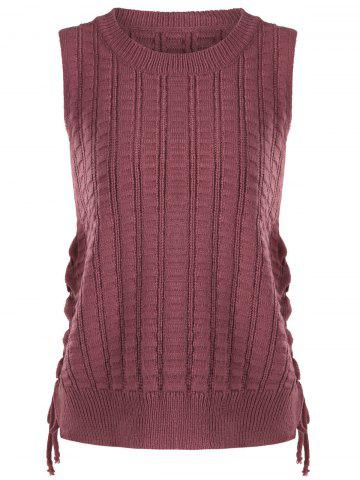 Trendy Knit Lace Up Sweater Vest - ONE SIZE BRICK-RED Mobile