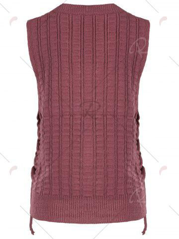 Buy Knit Lace Up Sweater Vest - ONE SIZE BRICK-RED Mobile