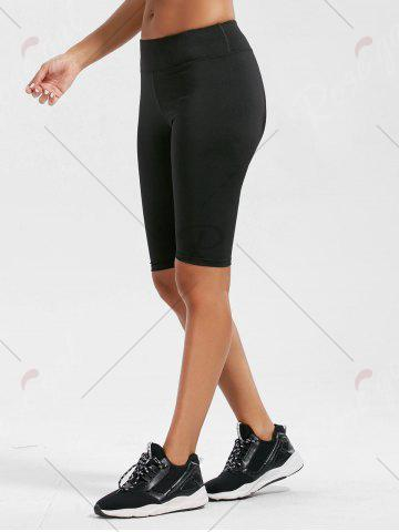 Fashion High Rise Knee Length Leggings with Pockets - L BLACK Mobile