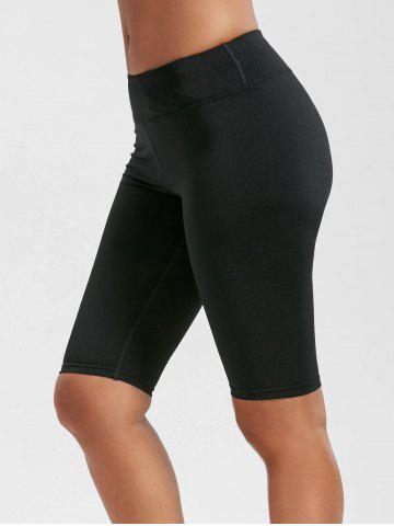 Affordable High Rise Knee Length Leggings with Pockets - L BLACK Mobile