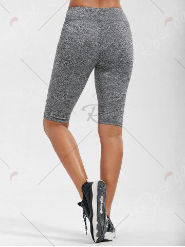 New High Rise Knee Length Leggings with Pockets - XL GRAY Mobile