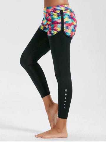 Printed Fitness Leggings with Shorts Bottom - Red - L