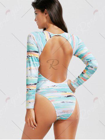 Fancy Open Back Long Sleeve Tie Dye Swimsuit - S COLORMIX Mobile