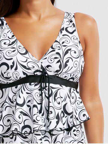 Affordable Tiered Ruffles Print Blouson Tankini Set - M WHITE AND BLACK Mobile