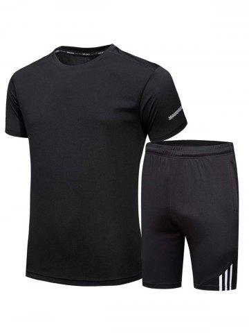Store Crew Neck Tee and Shorts Sportswear - 3XL BLACK Mobile