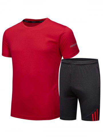 Shop Crew Neck Tee and Shorts Sportswear RED 3XL