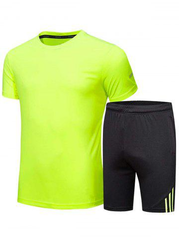 Hot Crew Neck Tee and Shorts Sportswear - FLUORESCENT YELLOW L Mobile