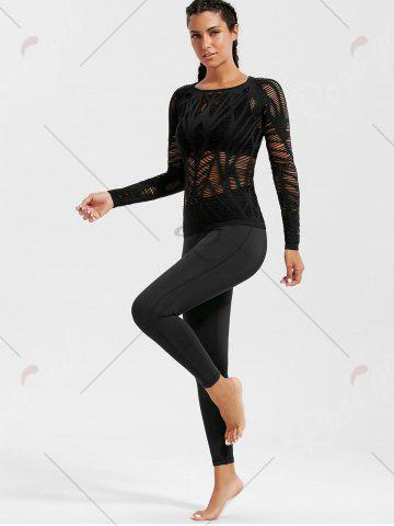 Trendy Sheer Ripped Long Sleeve  Sports T-shirt - BLACK M Mobile