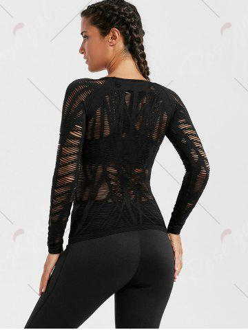 New Sheer Ripped Long Sleeve  Sports T-shirt - BLACK M Mobile