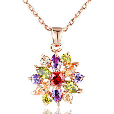 Zircon Link Chain Pendant Necklace - Colormix