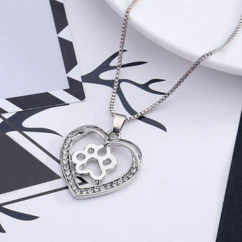 Dog Paw Heart Hollow Out Pendant Necklace - Silver