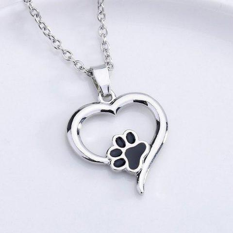Online Love Heart Shape Claw Pendant Necklace - SILVER  Mobile