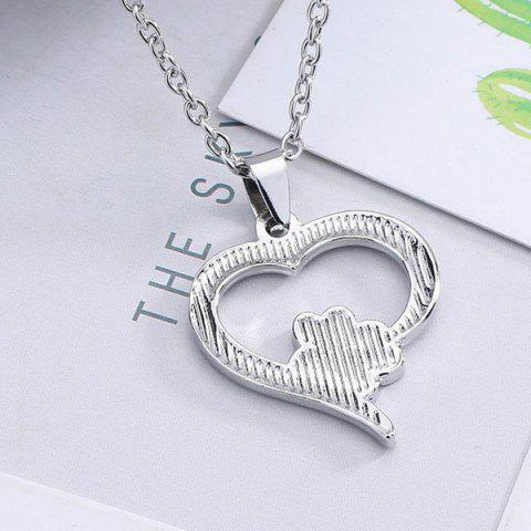 New Love Heart Shape Claw Pendant Necklace - SILVER  Mobile