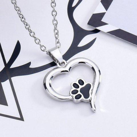 Outfits Love Heart Shape Claw Pendant Necklace - SILVER  Mobile