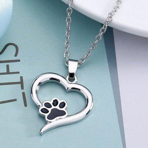 Latest Love Heart Shape Claw Pendant Necklace - SILVER  Mobile
