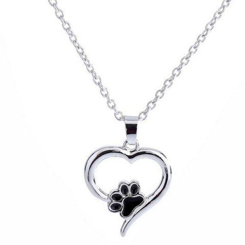 Love Heart Shape Claw Pendant Necklace - Silver
