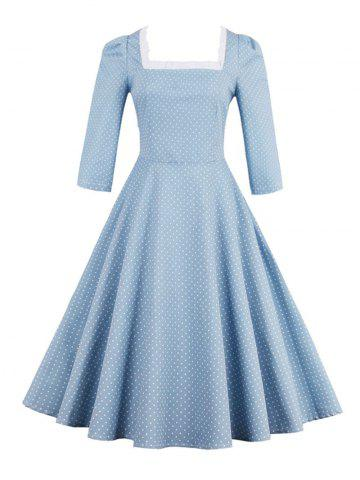 Affordable Polka Dot Square Neck Vintage Dress LIGHT BLUE 2XL