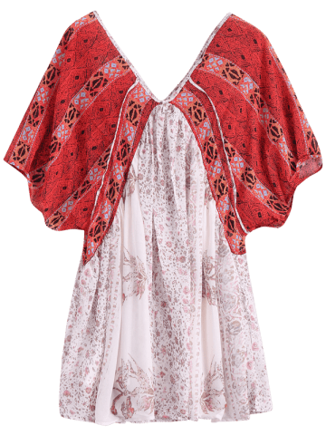 Fashion V Neck Short Sleeve Vintage Print Dress - XS RED WITH WHITE Mobile